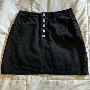 Black Denim Mini Jean Skirt